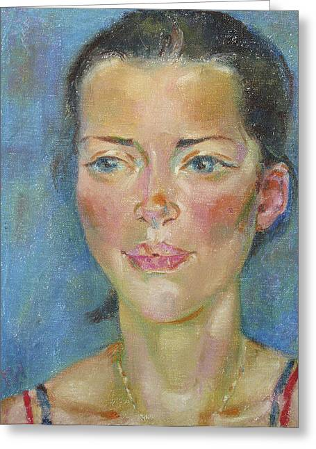 Girl Greeting Cards - Mary Ruth Greeting Card by Leonid Petrushin
