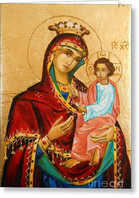 Mary With Jessus R.3 Greeting Card by Sorin Apostolescu