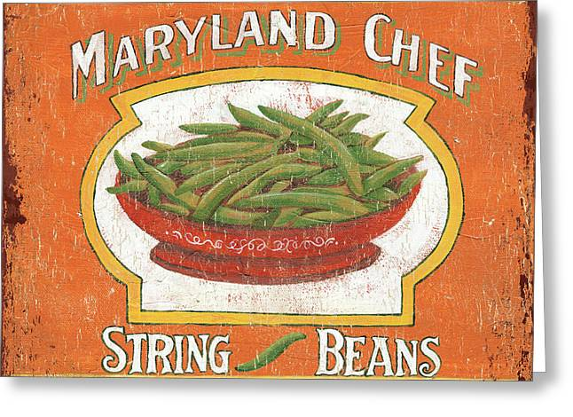 Green Beans Paintings Greeting Cards - Maryland Chef Beans Greeting Card by Debbie DeWitt