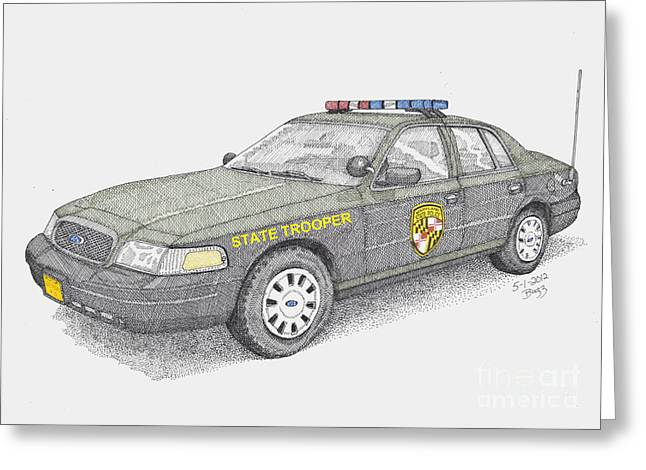 Police Cruiser Greeting Cards - Maryland State Police Car 2012 Greeting Card by Calvert Koerber