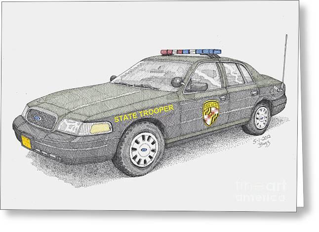 Maryland State Police Car 2012 Greeting Card by Calvert Koerber