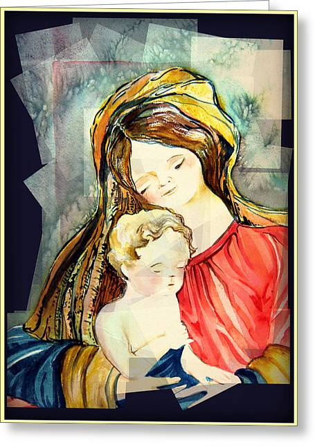 Christ Child Greeting Cards - Marys Baby Boy Greeting Card by Mindy Newman