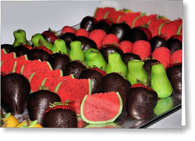 Strawberry Art Greeting Cards - Marzipan and Chocolate Greeting Card by Kristin Elmquist