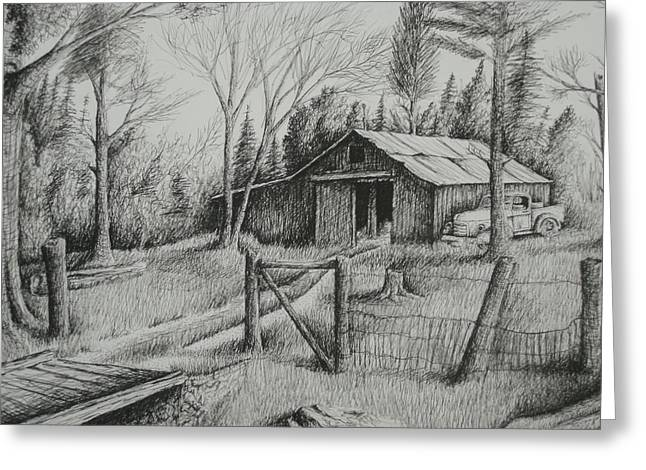 MA's Barn and truck Greeting Card by Chris Shepherd