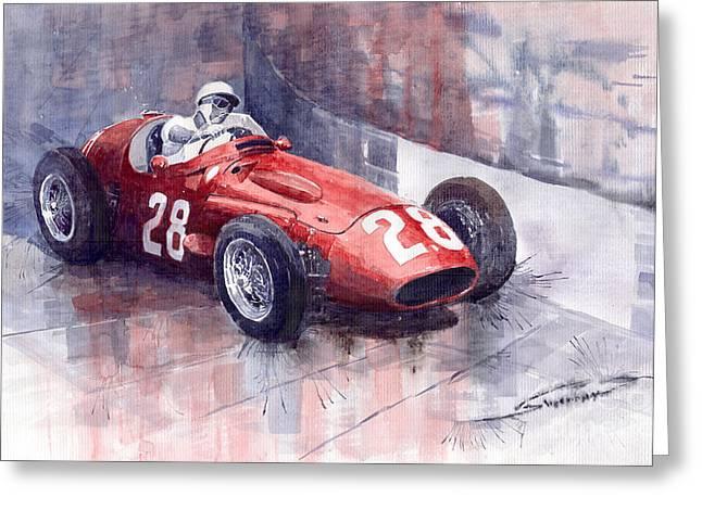 Monaco Greeting Cards - Maserati 250 F GP Monaco 1956 Stirling Moss Greeting Card by Yuriy  Shevchuk