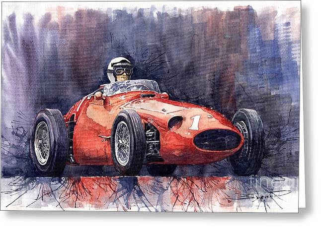 Old Paintings Greeting Cards - Maserati 250F Greeting Card by Yuriy  Shevchuk
