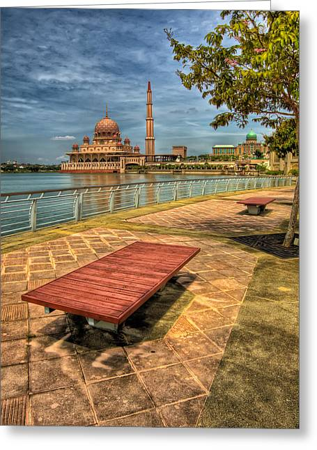 Dome Greeting Cards - Masjid Putra Greeting Card by Adrian Evans