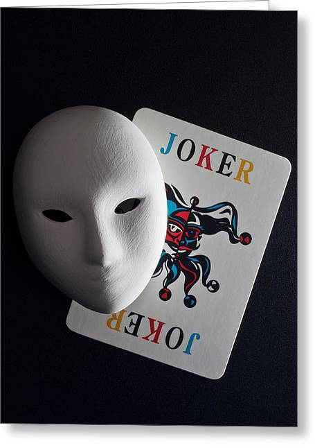 Theater Pyrography Greeting Cards - Mask And Joker Greeting Card by Kantapong Phatichowwat