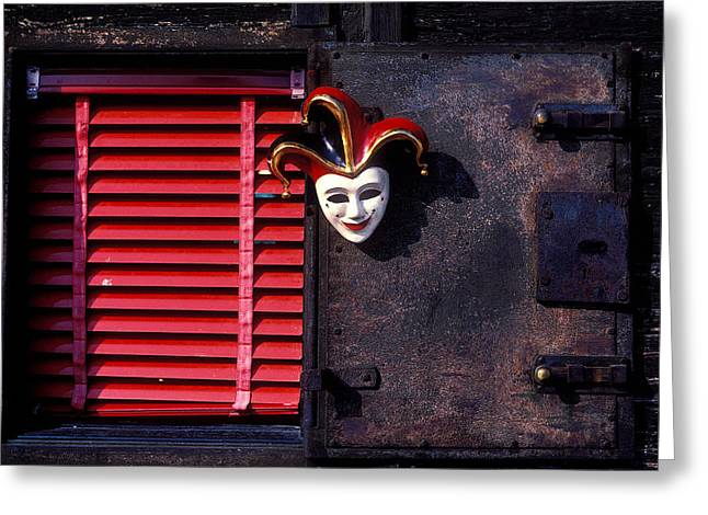 Blinds Greeting Cards - Mask by window Greeting Card by Garry Gay