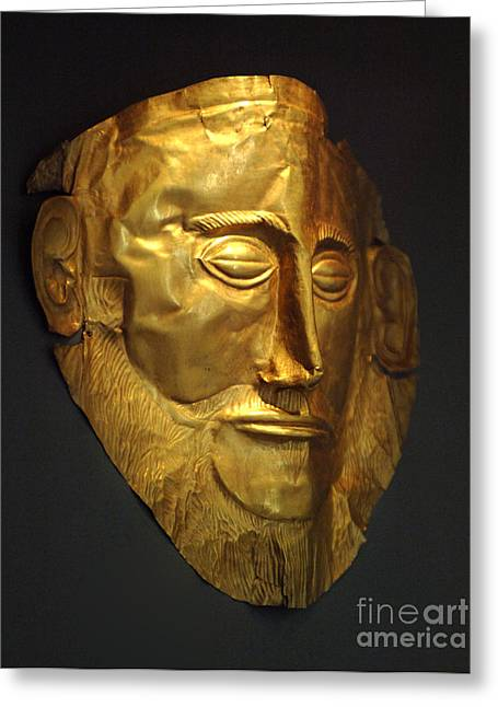 Museum Athens Greeting Cards - Mask of Agamemnon 2 Greeting Card by Bob Christopher