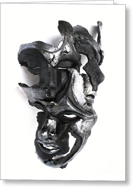 Wall Sculpture Sculptures Sculptures Greeting Cards - Mask of Three Greeting Card by Wayne Niemi