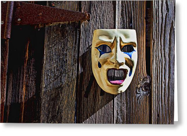 Mask on barn door Greeting Card by Garry Gay