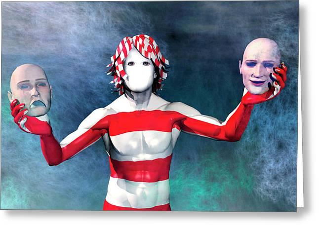 Bipolar Digital Art Greeting Cards - Masks Greeting Card by Carol and Mike Werner