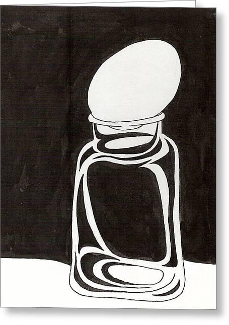 Mason Jars Drawings Greeting Cards - Mason Jar Egg Greeting Card by Phil Burns