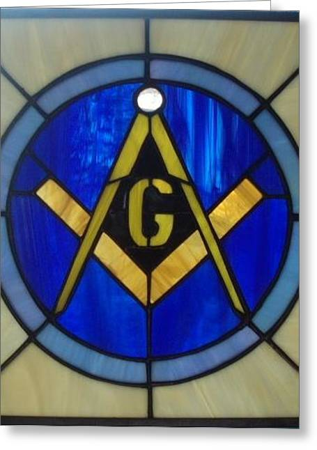 Glass Art Greeting Cards - Masonic Emblem Greeting Card by Liz Shepard