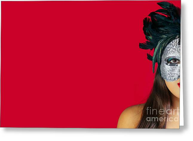 Party Invite Greeting Cards - Masquerade mask red background Greeting Card by Richard Thomas