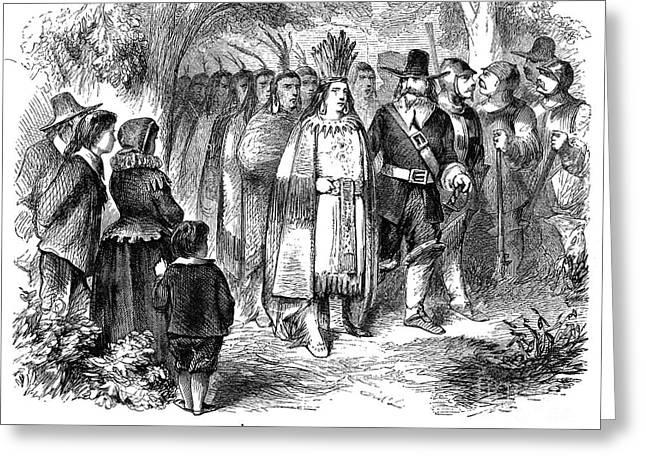 Wampanoag Greeting Cards - MASSASOIT (d. 1661) Greeting Card by Granger
