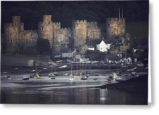 Sailboats In Harbor Greeting Cards - Massive Eight-towered Castle Looms Greeting Card by Farrell Grehan
