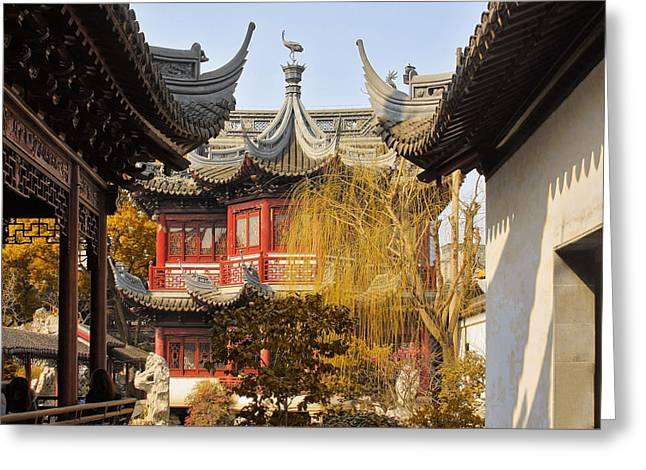Classical Greeting Cards - Massive upturned eaves - Yuyuan Garden Shanghai China Greeting Card by Christine Till