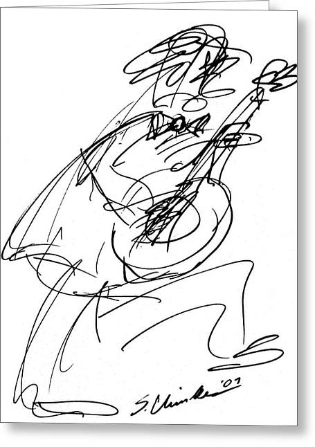 Player Drawings Greeting Cards - Master Guitarist Greeting Card by Sam Chinkes