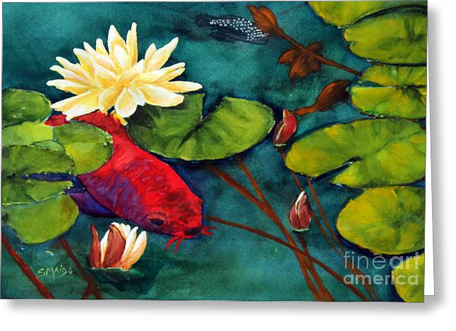 Algae Paintings Greeting Cards - Master Koi Greeting Card by Sheila Maida