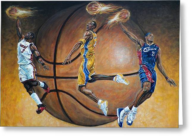 Slam Dunk Paintings Greeting Cards - Masters of the Game Greeting Card by Billy Leslie