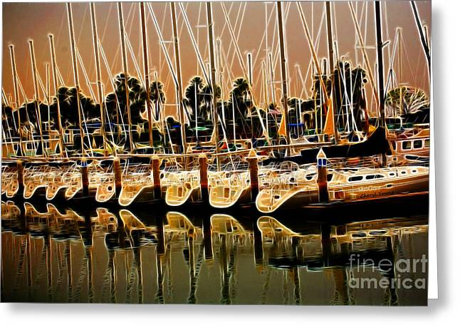 Sailboats Docked Greeting Cards - Masts Greeting Card by Cheryl Young