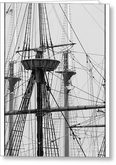 Thick Fog Greeting Cards - Masts Greeting Card by Hideaki Sakurai