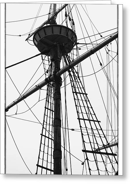 Thick Fog Greeting Cards - Masts II Greeting Card by Hideaki Sakurai