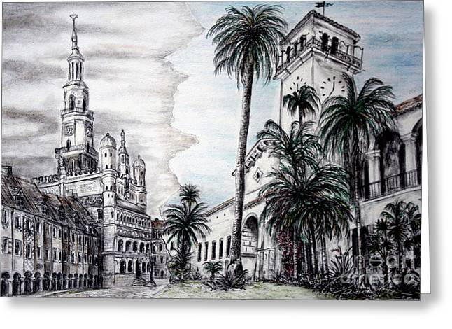 City Hall Drawings Greeting Cards - Matching up Greeting Card by Danuta Bennett