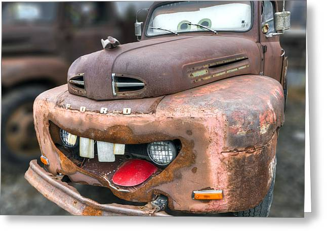 Tow Greeting Cards - Mater from Cars 2 Ford Truck Greeting Card by Dustin K Ryan