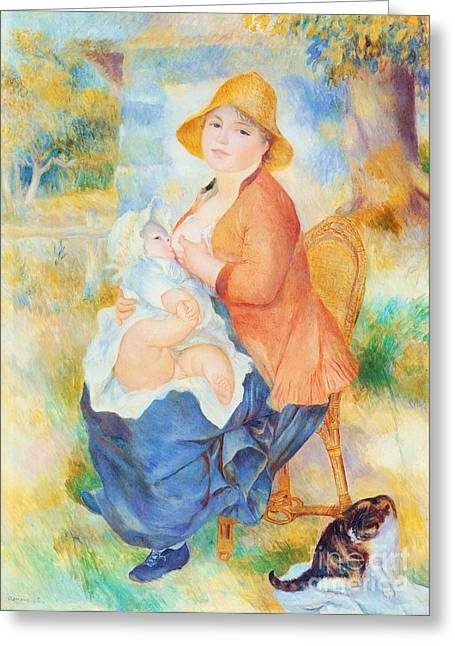 Breast Feeding Greeting Cards - Maternite Greeting Card by Pg Reproductions