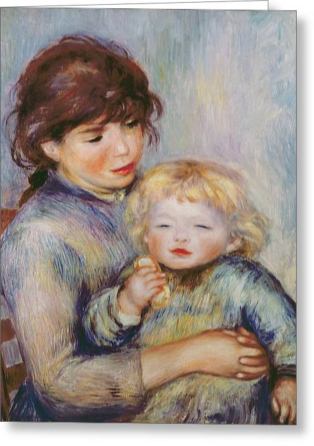 Sitting In A Chair Greeting Cards - Maternity or Child with a biscuit Greeting Card by Pierre Auguste Renoir