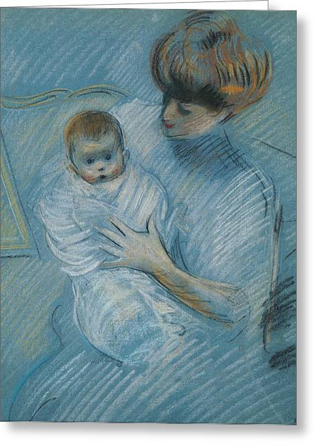 Mothering Sunday Greeting Cards - Maternity Greeting Card by Paul Cesar Helleu