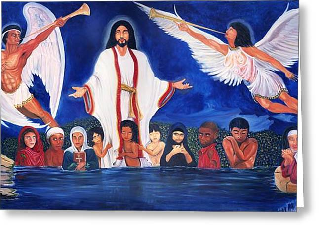 Christ Child Greeting Cards - Mathew Eighteen Five Greeting Card by Lawrence Childress