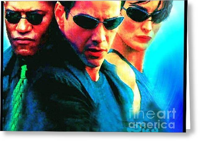 Carrie-anne Moss Greeting Cards - Matrix Reeves Greeting Card by Nicholas Nixo