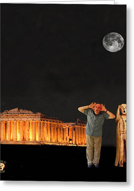 Acroplolis Greeting Cards - Matt Hovler screams Athens Greeting Card by Eric Kempson