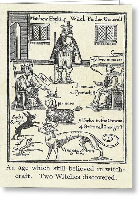Imps Greeting Cards - Matthew Hopkins, English Witch Hunter Greeting Card by Science, Industry & Business Librarynew York Public Library