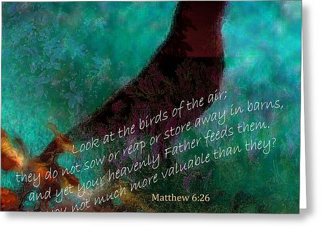 Jesus Mixed Media Greeting Cards - Matthew Six Verse Twenty Six Greeting Card by Ruth Palmer