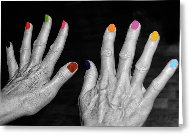 Finger Nails Greeting Cards - Mature Hands Greeting Card by Alex Hardie