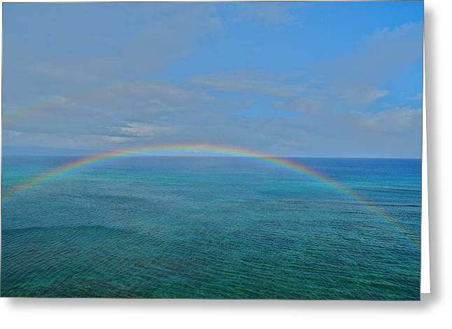 Double Rainbow Greeting Cards - Maui Double Rainbow Greeting Card by Kirsten Giving