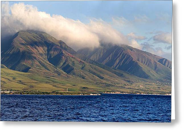 Panoramic Ocean Greeting Cards - Maui Pano Greeting Card by Scott Pellegrin