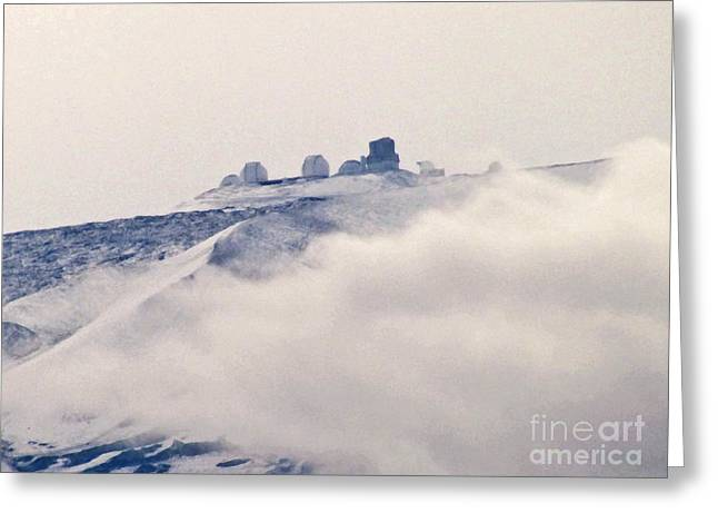 Mauna Kea Observatories With Snow Greeting Card by Bette Phelan