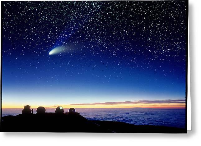 Hale-bopp Comet Greeting Cards - Mauna Kea Observatory & Comet Hale-bopp Greeting Card by David Nunuk