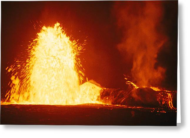 Loa Greeting Cards - Mauna Loa Volcano Erupting At Night Greeting Card by Bill Curtsinger