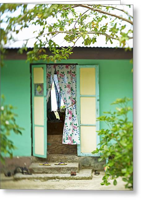French Open Greeting Cards - Maupiti Doorway Greeting Card by Kyle Rothenborg - Printscapes