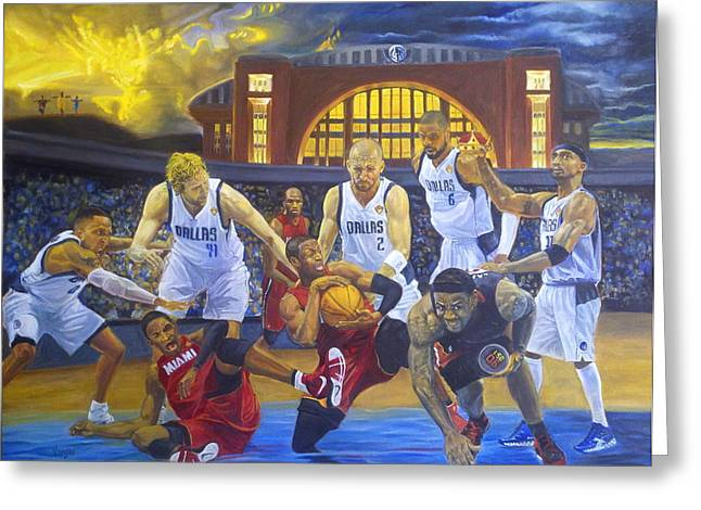 Lakers Paintings Greeting Cards - Mavericks Defeat The King and His Court Greeting Card by Luis Antonio Vargas