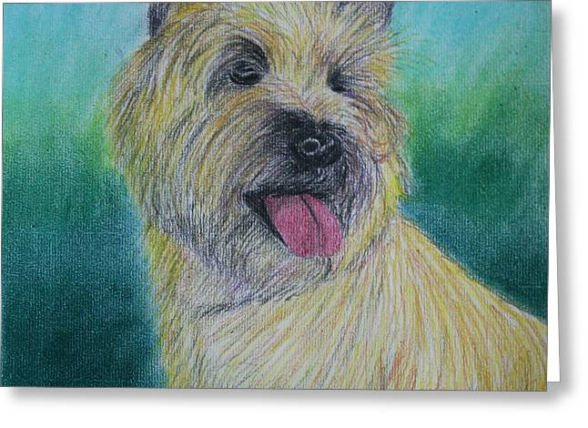 Canines Art Pastels Greeting Cards - Max Greeting Card by Jose Valeriano
