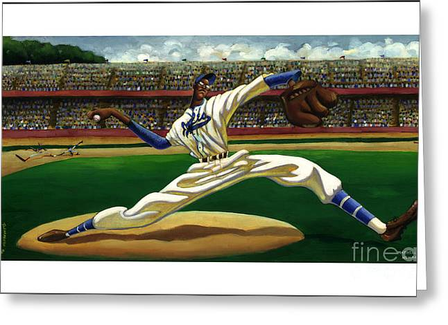 Negroes Paintings Greeting Cards - Max On The Mound Greeting Card by Keith Shepherd