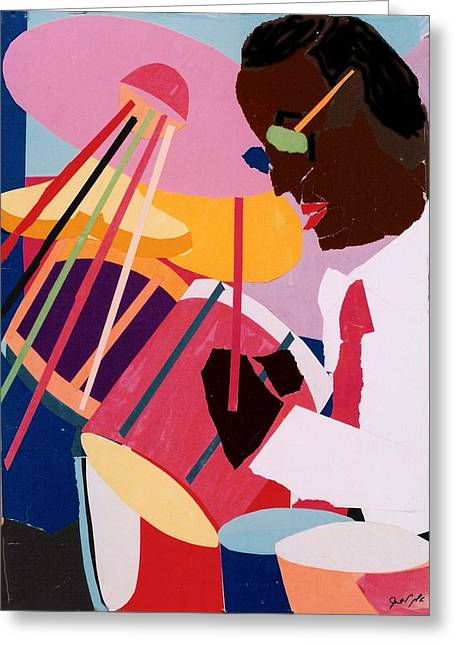 Roach Mixed Media Greeting Cards - Max Roach Collage Greeting Card by Ellen Lefrak